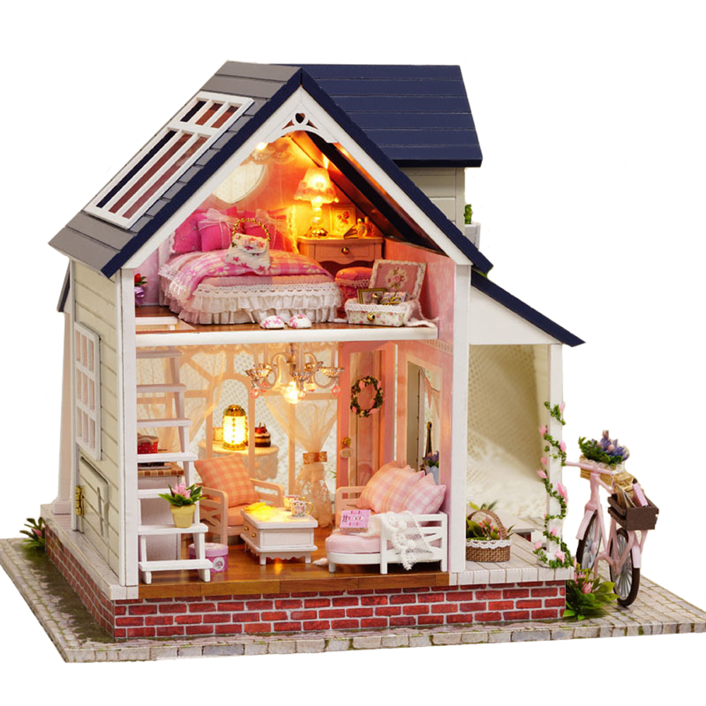 M Sica Dollhouse Mini Diy Villa Luz De La Bicicleta De Regalo  # Muebles Bicicleta