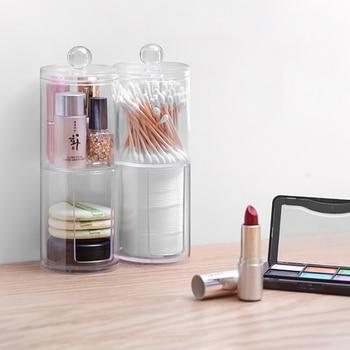Podwójna Warstwa Akrylowe Bawełniane Patyczki Kosmetyczne Organizer Z Pokrywą Wyczyść Organizer Kosmetyczny Organizer Na Kosmetyki Kosmetyczka