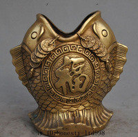 Crafts statue Marked Chinese Fengshui Brass Wealth Money Coin Lucky Fish Brush Pot pencil vase