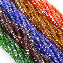 Fashion Jewelry Cube Glass Loose Beads 10 Colors Square Shape 2MM 3MM 4MM 6MM 8MM Austrian Crystal Beads for Bracelet DIY Making(China)