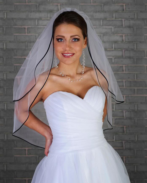 2016 New Charming White Wedding Veil With Black Ribbon Edge Veu De Noiva Mantilla Trim