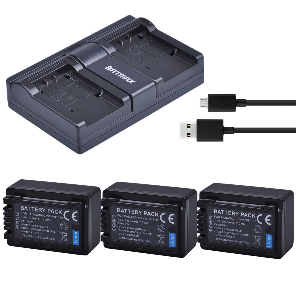 HC-V750M HC-V750MK Full HD Camcorder HC-V750K USB Dual Battery Charger for Panasonic HC-V750