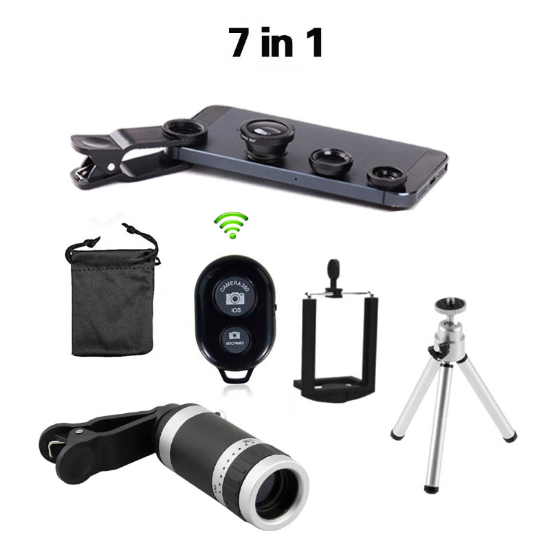 2016 New 7in1 8x Zoom Camera Telephoto Telescope Lens Universal Mobile Phone Holder 3in1 Lens Fisheye Lenses Bluetooth Shutter