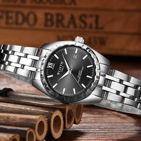 Fashion Women Watches Men Watch Luxury Gold Couple Watch Lover Sweet Waterproof Stainless Steel Clock relogio masculino reloj Karachi