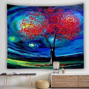 Image 4 - ليلة النجوم نسيج فان جوخ مجردة اللوحة جدار الفن ثلاثية الأبعاد الأزرق الجدار الشنق نسيج ديكور المنزل حجم كبير نسيج
