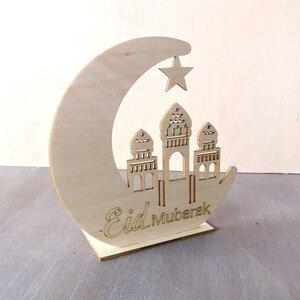 Image 3 - 1Pcs Led Light Ramadan Wooden Eid Mubarak Decoration Home Moon Islam Mosque Muslim Wooden Plaque Festival Party Supplies Gifts