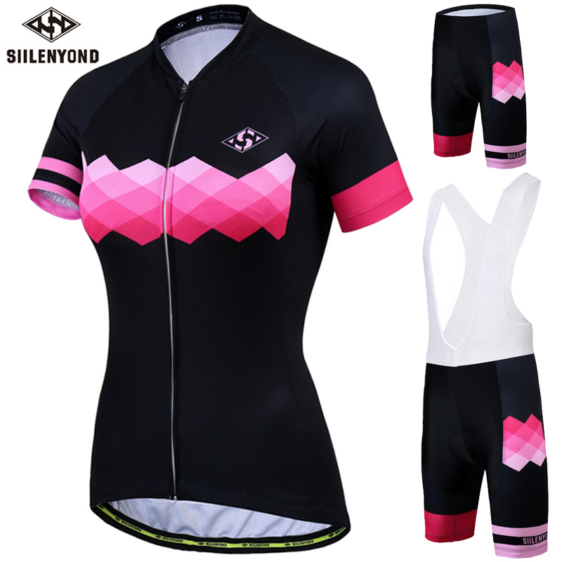 Siilenyond Women's Cycling Jersey Set Summer Anti-UV Cycling Bicycle Clothing Quick-Dry Mountain Bike Clothes Cycling Set цена