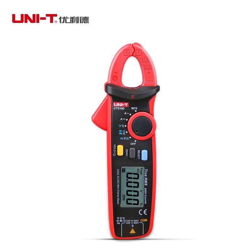 UNI T UT210D UT210E Mini Digital Clamp Multimeter Auto Range AC DC Voltage Current Tester ohm