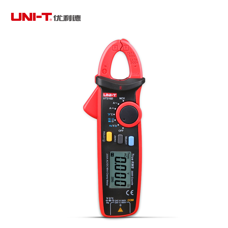 UNI-T UT210D Mini Digital Clamp Multimeter 200A Auto Range AC/DC Voltage Current Tester C/F Temperature Tester