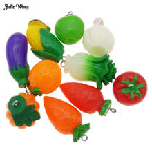 Julie Wang 4-10pcs 3D Imitation Vegetables Pendant Carrot Eggplant Corn Cabochon Earring Keychain Charms Phone Decor Findings