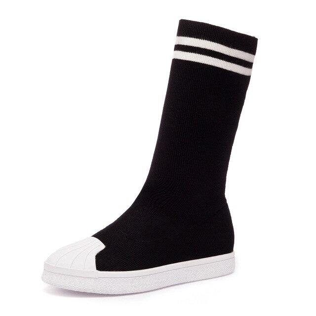 Sonbahar ve kış yeni vahşi örme uzun tüp çorap ayakkabı yuvarlak kafa nefes düz alt moda rahat bayan botları
