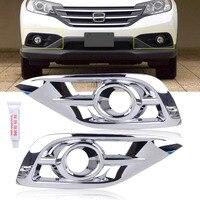 Beler 2 Pz/set Argento Cromato Lampada Della Luce di Nebbia Lunetta Trim Copertura misura per Honda CR-V 2012 2013 2014
