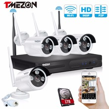 hot deal buy tmezon 4ch cctv system 960p nvr 4pcs 1.3mp wireless ip camera ir outdoor p2p wireless security system surveillance kit with 1tb
