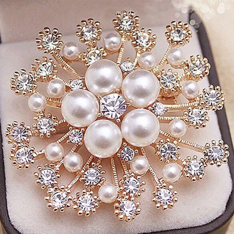 Women Lady Snowflake Imitation Pearls Rhinestone Crystal Wedding Party Brooch Pin Jewelry Accessorise clocks and colours nomad