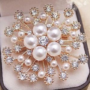 LNRRABC Fashion Women Large Brooches Lady Snowflake Imitation Pearls Rhinestones Crystal Wedding Brooch Pin Jewelry Accessorise(China)