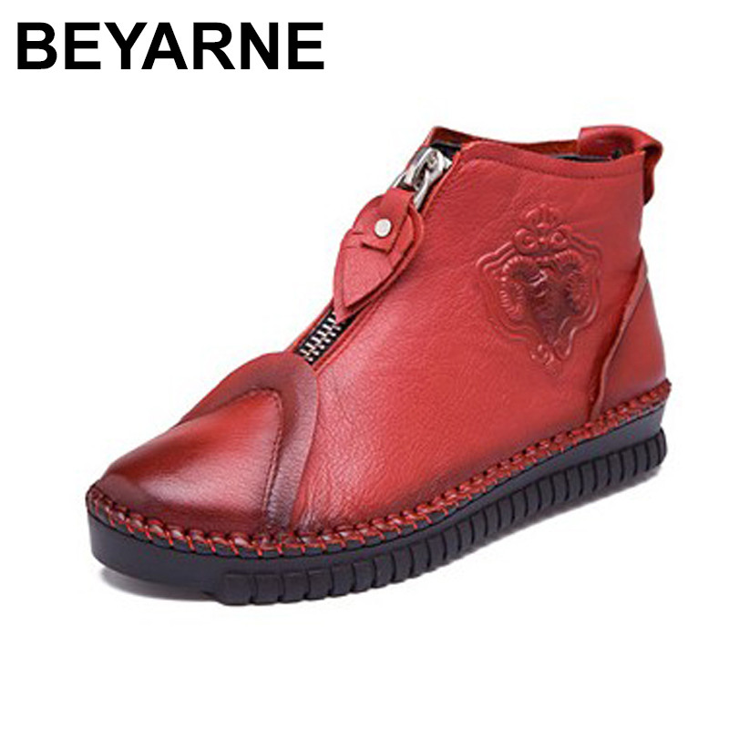 BEYARNE Women Genuine Leather Shoes Vintage Casual Shoes Women Fashion Ankle Boots Flat Heel Motorcycle Boots Shoes For Woman 2018 genuine leather women boots flat heel vintage handmade women shoes ankle boots