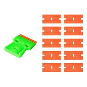 Image 5 - EHDIS nettoyage des vitres, racleur de rasoir + 10 pièces, outils de teinture à lames en plastique pour voiture, autocollant, élimination de la colle, enveloppe en vinyle