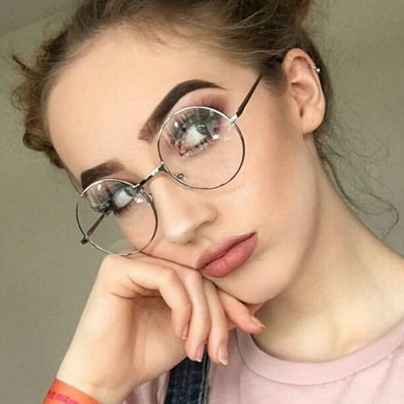 Vintage Round Metal Women Eyeglasses Frames Optical Frame For Men Eyeglass Clear Lens Anti-blue ray  feminino de grau