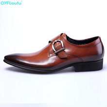 Famous Mens Monk Strap Genuine Leather Shoes Luxury Brand Black Men Party Wedding Dress Shoe Business Pointy Shoes