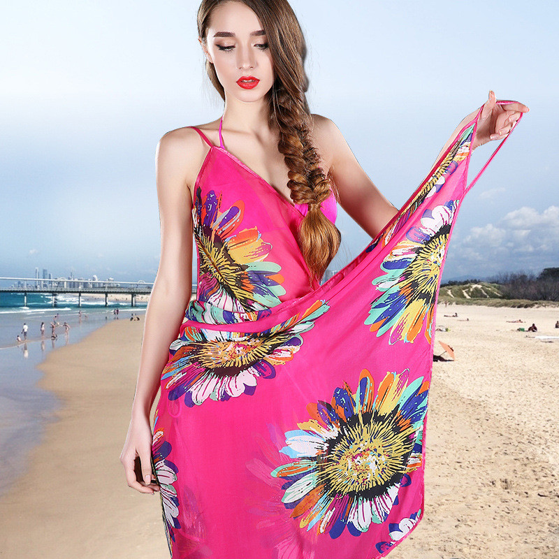 2017 New Fashion Women Sexy Summer Bikini Chiffon   Wrap   Floral Print Pareo Boho Dress Sarong Beach Bikini Swimwear Cover Up   Scarf