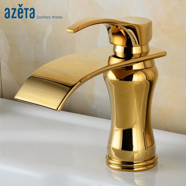 Modern Luxury Waterfall Basin Tap Bathroom Brass Gold Plated Single Hole Deck Mounted Wash Basin Faucet AT3316GModern Luxury Waterfall Basin Tap Bathroom Brass Gold Plated Single Hole Deck Mounted Wash Basin Faucet AT3316G
