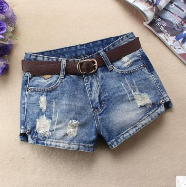 2020  Womens Middle Waist Hole Denim Shorts Spring Summer Ripped Female S/3Xl Sexy Jeans Short Bermuda Femme Without Belt J2719