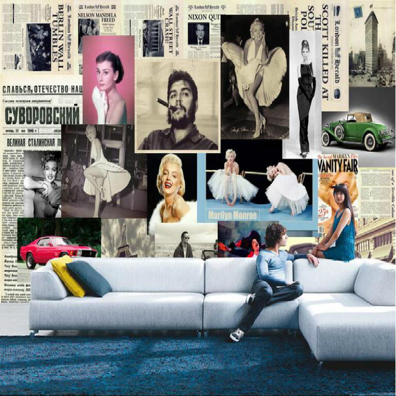 European Retro Newspaper Background Marilyn Monroe Photo Large Mural Wallpaper Living Room Bedroom  TV Backdrop 3d Wallpaper beibehang customize universe star large mural bedroom living room tv background wallpaper minimalist 3d sky ceiling wallpaper