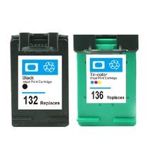 Картридж для HP 132 136 картридж с чернилами для HP Officejet 6213 5443 D4163 Photosmart 2573 C3183 D5163 1513 C3100 C3110 c3125
