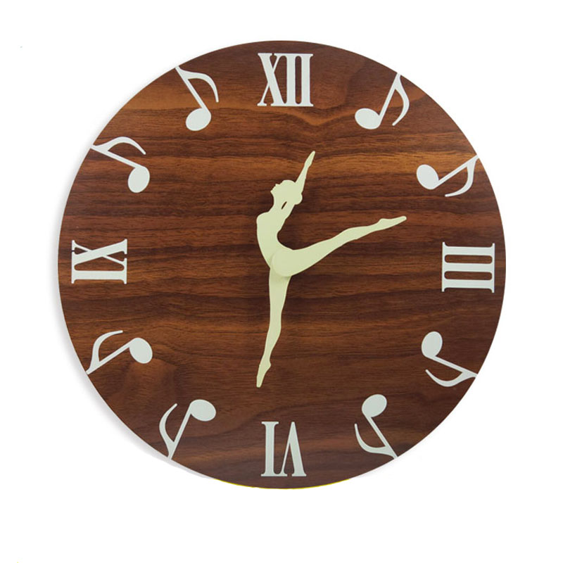Ballet Dancing Luminous Wall Clock Glow In The Dark for Bedroom Living Room Creative Hanging Modern Mute Home Decoration