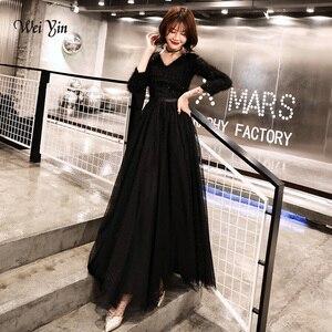 Image 1 - Weiyin 2020 ארוך פורמליות ערב שמלות שחור נשים של אלגנטי V צוואר ארוך שרוול נצנצים נשף ערב מסיבת שמלות WY1273