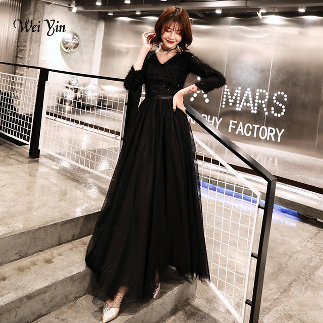 weiyin 2020 Long Formal Evening Dresses Black Womens Elegant V neck Long Sleeve Sequined Prom Evening Party Gowns WY1273