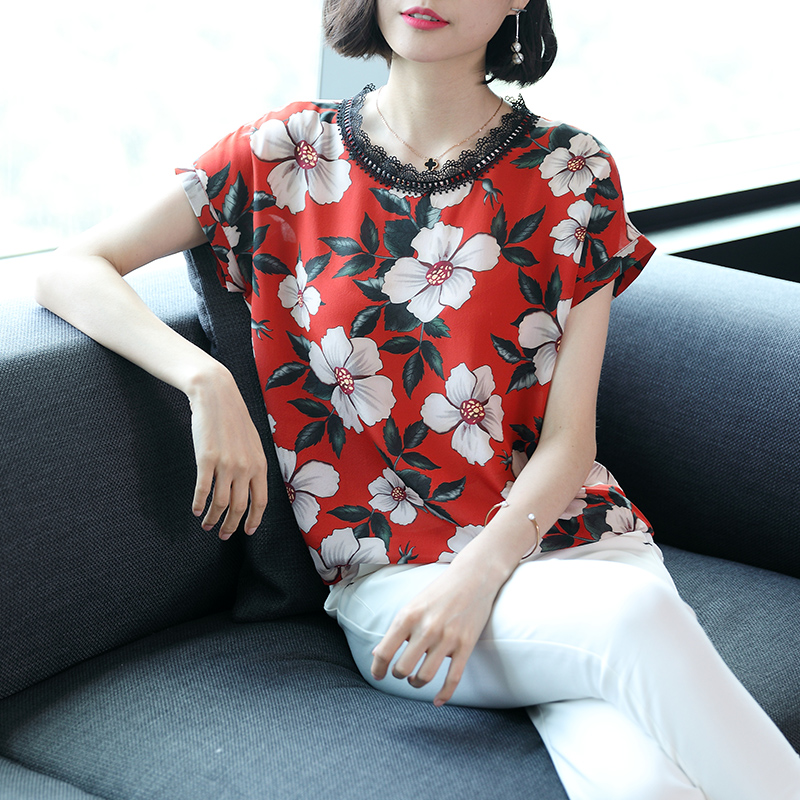 Silk short sleeved T shirt mulberry silk summer round neck T shirt loose print slim ladies