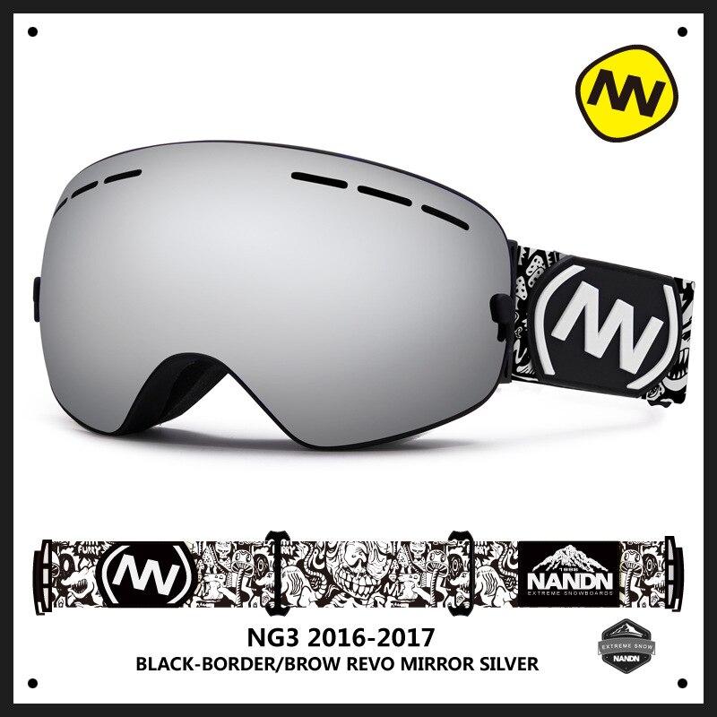 Nandn Mountaining Ski Snowboard Double Couche Lentille Sphérique Anti Brouillard Grande Vision Hommes Femmes Lunettes Peut Myopie Lunettes Lunettes