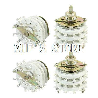 4Pcs 3P6T 3 Pole 6 Position Three Decks Band Channael Rotary Switch Selector