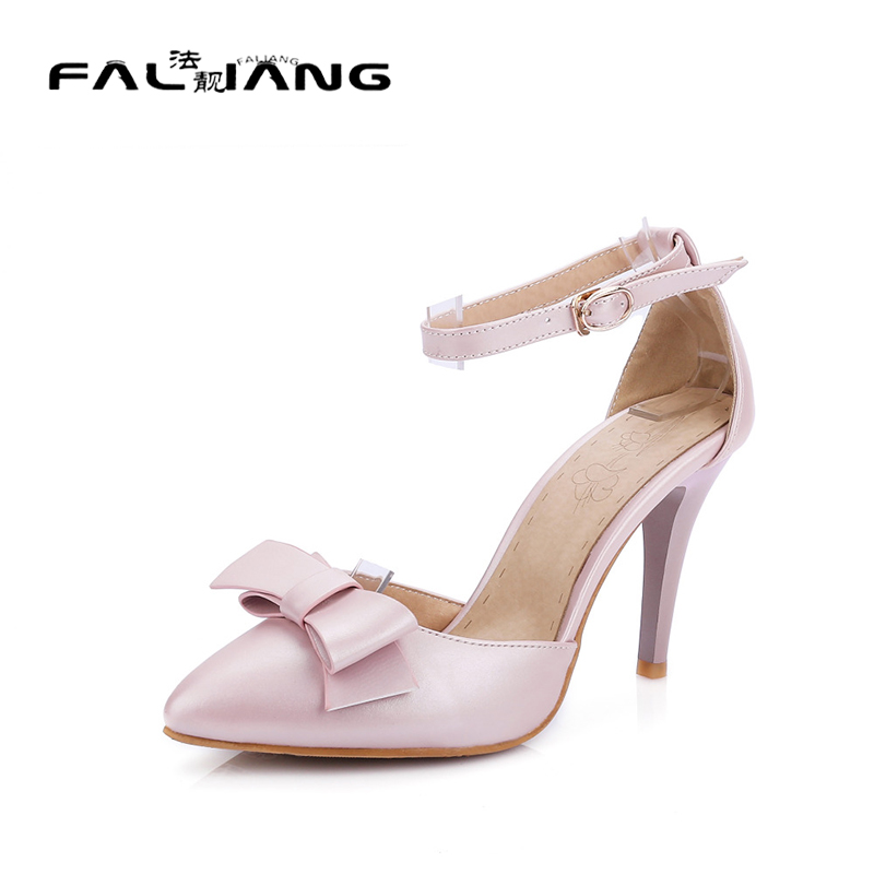 New fashion pointed toe high heels shoes woman sexy women pumps ankle strap party wedding shoes summer sandals big size 32 43 fashion party shoes woman sexy high heels platform summer pumps ankle strap sandals women shoes