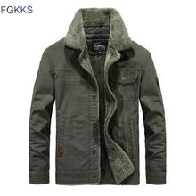 FGKKS 브랜드 남성 자켓 폭격기 겨울 2020 가을 남성 웜 자켓 모피 칼라 아웃웨어 남성 캐주얼 자켓 코트