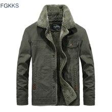 FGKKS, chaquetas Bomber para hombre, Invierno 2020, Otoño, chaqueta cálida para hombre, cuello de piel, prendas de vestir, chaquetas casuales para hombre, abrigos