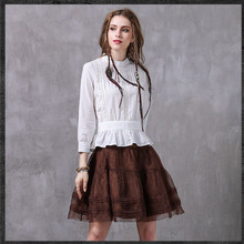 2017 Summer Women Blouse shirt Elegant High quality Hollow out Cotton Blusa Top