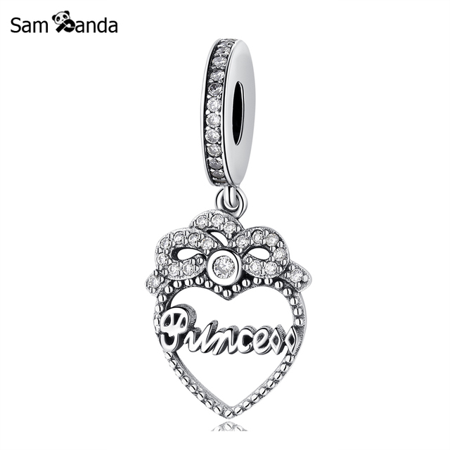 fe391a436 ... italy authentic 925 sterling silver bead charm princess crown heart  dangle charms pendant fit pandora bracelets