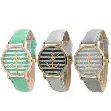 Hot Horloges Watch Geneva Crystal Dress Striped Anchor Style Vintage Analog Bracelet Quartz Watch Female Clock Relogio Feminino