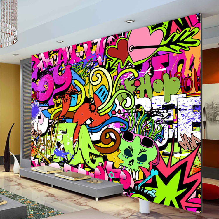 Graffiti boys urban art photo wallpaper custom wall mural for Cn mural designs
