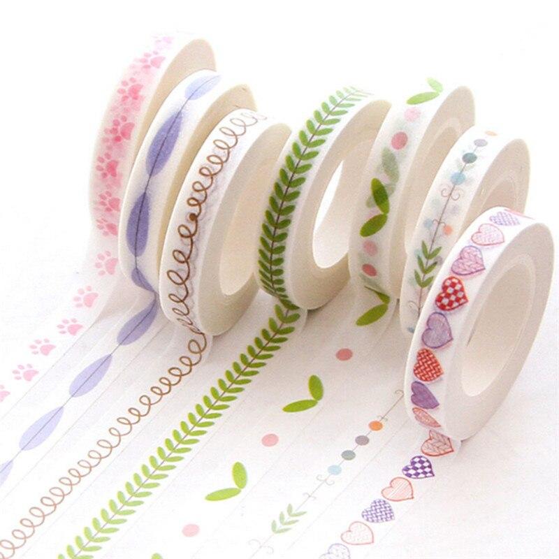 7mm*10m Slim Series Washi Tape Children Like DIY Diary Decoration Masking Tape Stationery Scrapbooking Tools Randomly