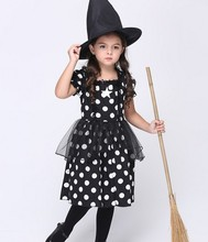 2 Pcs Witch Girl Dress Kids Halloween Witches Costumes Fancy Dress For Girls Movie Cosplay Costumes Festival Costume Parties