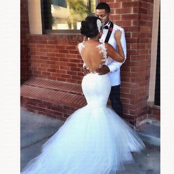 2019 New African Stunning Backless Mermaid Wedding Dress Spaghetti Straps Bridal Gowns vestido de casamento