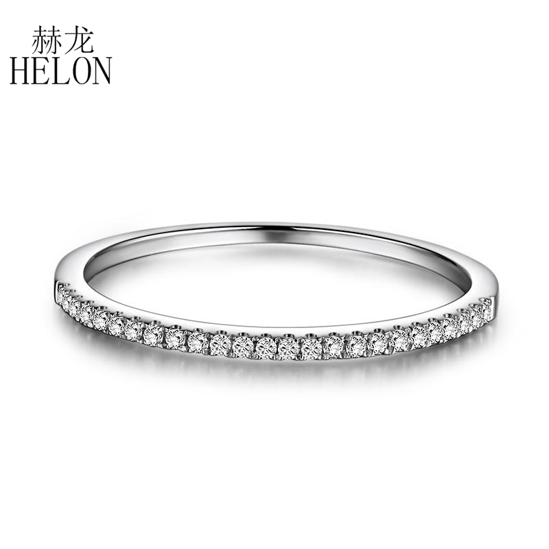 HELON Solid 10k White Gold 100 Genuine Natural Diamonds Wedding Classic Band Engagement Anniversary Women Trendy