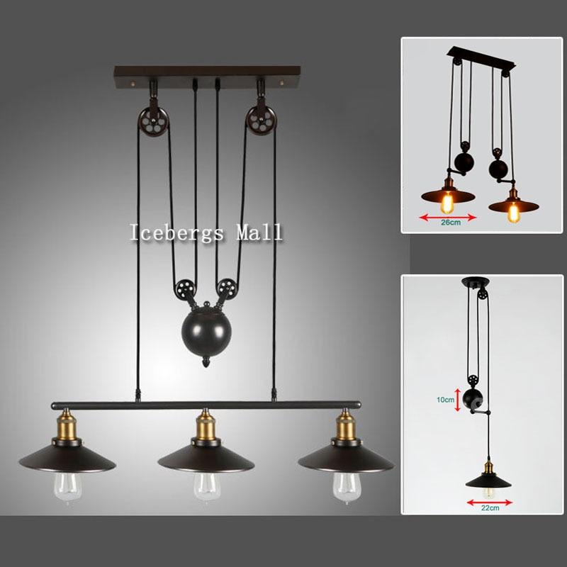 Vintage Loft Retractable Pulley Pendant Light American Style Lifting  Adjustable Wire Lamp RH Industrial Pendant Lamp