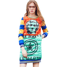 Brand Women Down Parkas Dress 2016 Fashion Female Autumn Winter Coats Jacket Novelty Print Casual Pullover Long Down Jacket