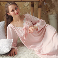 Autumn Vintage Nightgowns V neck Ladies Princess White Pink Sexy Sleepwear Lace Home Dress Night Gown Long