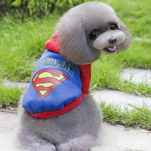 Small Dogs Cat Pet Winter Coat Superman Printed Hoodie Sweater Costumes Clothes Large