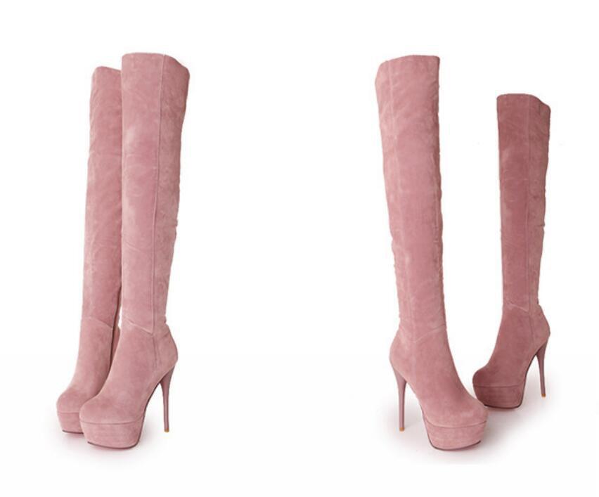 Martin Große rosa Schwarzes blau Sandähnliche Weibliche Stiefel Hohe High Laufsteg Qiu Mail Dong Heels Mode Chao gold Yards Bühne Paket fRAqOA